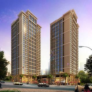 简欧风格高层住宅楼整体模型