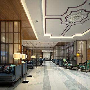 新中式酒店水吧区整体模型