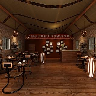 复古书房咖啡厅整体模型