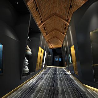 现代博物馆过道整体模型