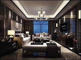 中式客厅整体模型