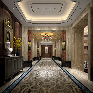 美式门厅整体模型