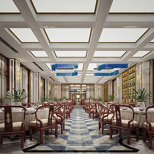 新中式宴会厅整体模型