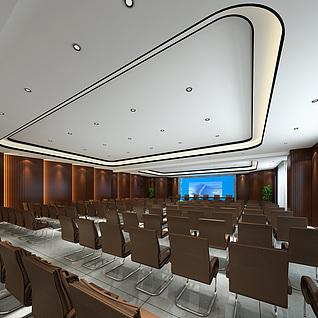 现代会议厅整体模型
