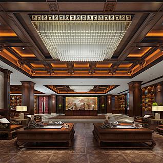 中式办公室整体模型
