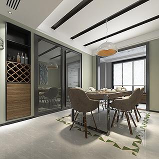 客厅餐厅整体模型