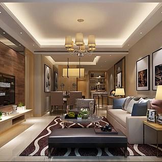 港式风格客厅整体模型