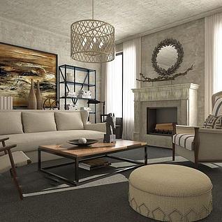 现代客厅沙发整体模型
