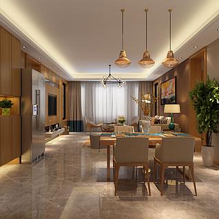 现代简约客餐厅整体模型