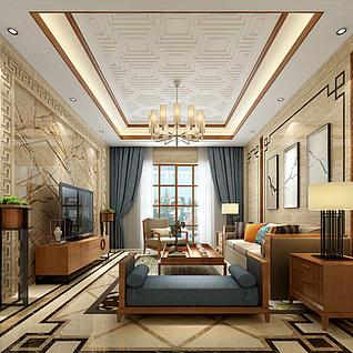 新中式客厅整体模型