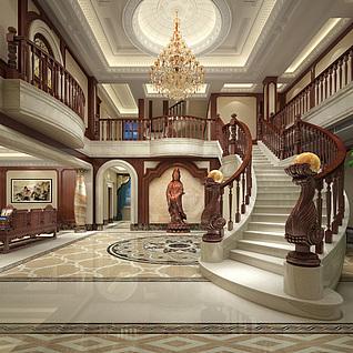 欧式别墅大厅整体模型