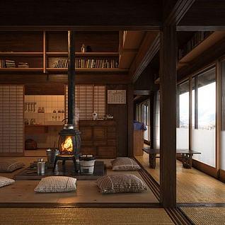 日式风格茶室厨房整体模型