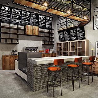 轻LOFT工业风自然风咖啡馆整体模型