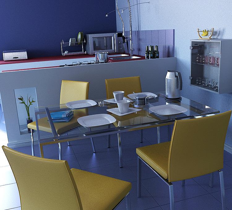 现代餐厅厨房结合整体模型