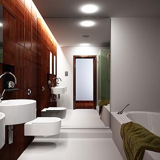 现代卫浴洗手间浴缸整体模型