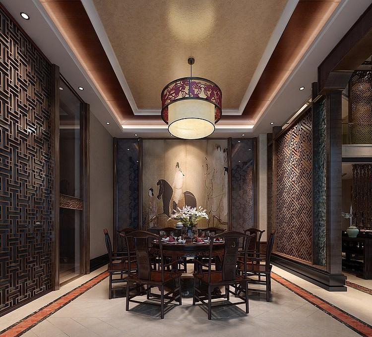 中式风格客厅餐厅模型