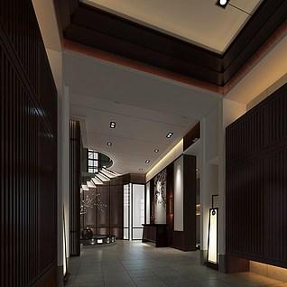 日式风格门厅整体模型