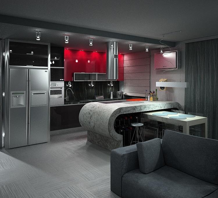现代客厅餐厅厨房模型