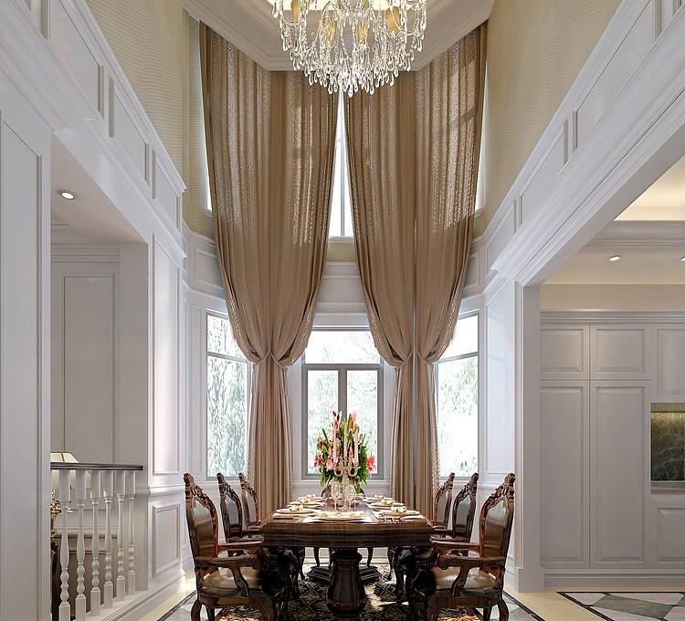 欧式风格客厅餐厅模型