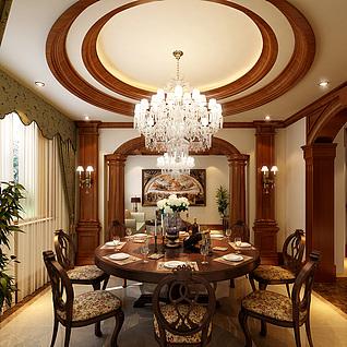 美式餐厅整体模型
