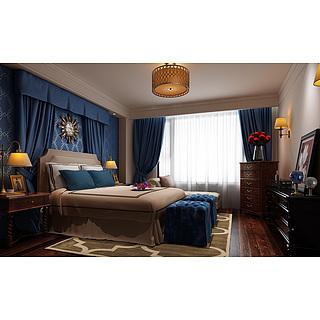 现代地中海风格卧室整体模型