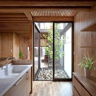 现代别墅室内厨房模型整体模型