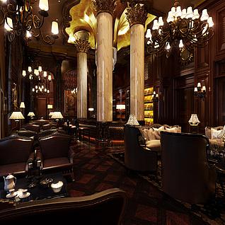 欧式餐厅整体模型