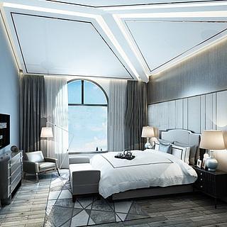 现代简约风格卧室整体模型