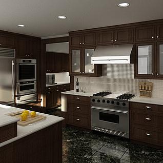 现代简欧厨房橱柜整体模型