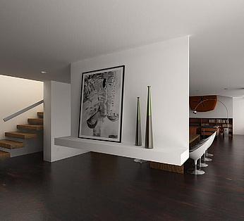 室内楼梯书房客厅模型