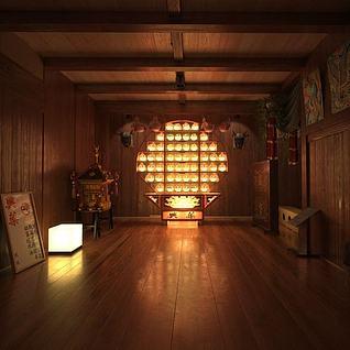 日式祠堂整体模型