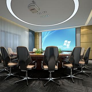现代办公圆桌会议室整体模型