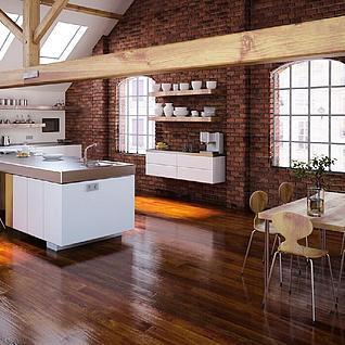 现代厨房餐厅整体模型