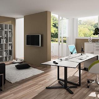 现代办公客厅整体模型