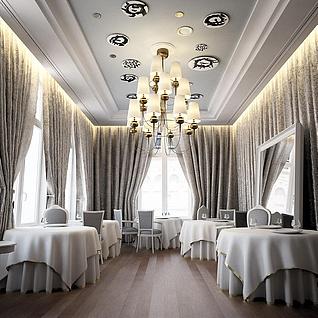 时尚欧式西餐厅整体模型