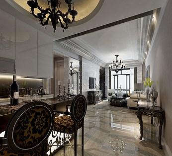 欧式风格客厅餐厅