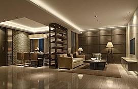 现代中式风格客厅整体模型