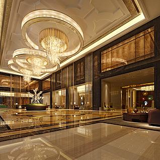 现代豪华候客大厅整体模型