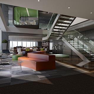 双层办公室会议室整体模型