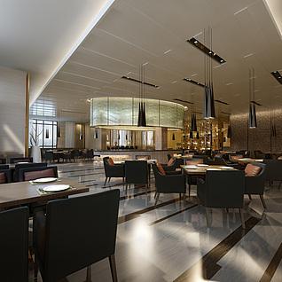 现代工装餐厅整体模型