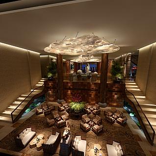 现代豪华酒店休闲会客大厅整体模型