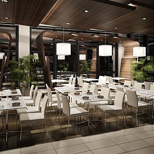 现代快餐茶餐厅整体模型