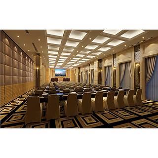 现代会议室整体模型