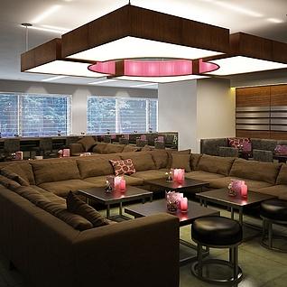 现代休闲吧咖啡厅整体模型
