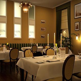 现代西餐厅模型整体模型