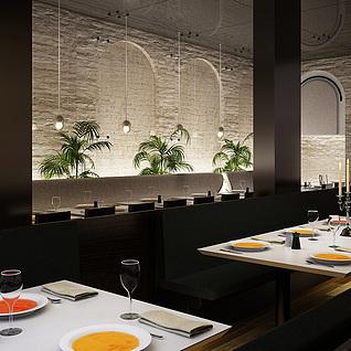 现代餐厅模型整体模型