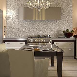 欧式厨房餐厅整体模型