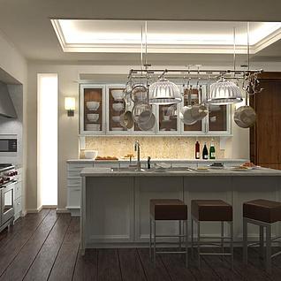 简约欧式厨房餐厅整体模型