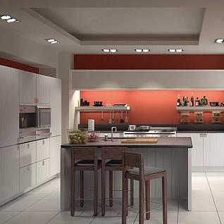 现代开放厨房餐厅整体模型