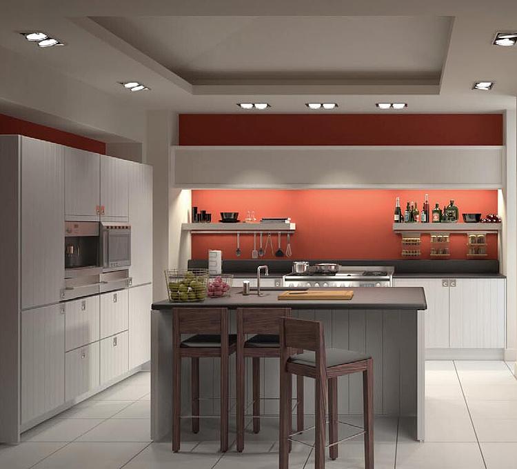 现代开放厨房餐厅模型